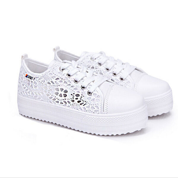 Casual Cutouts Lace Canvas Hollow Floral Breathable Platform Flat Shoes