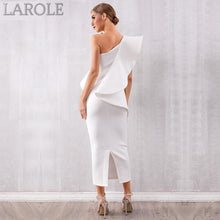 Load image into Gallery viewer, Sleeveless Ruffles  White One Shoulder Bodycon Dress - More Colors Option Available!