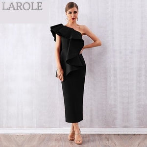 Sleeveless Ruffles  Black One Shoulder Bodycon Maxi Dress - More Colors Are Available!