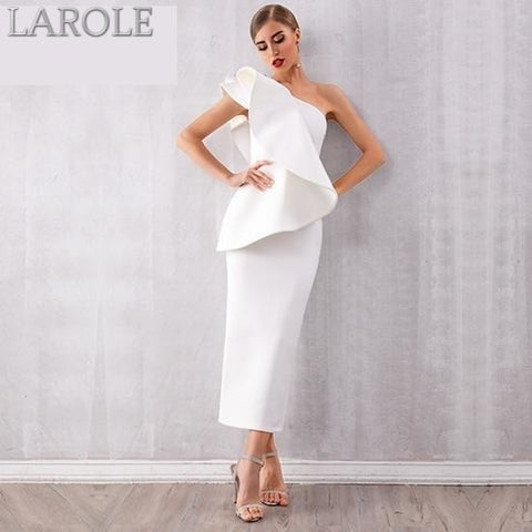Sleeveless Ruffles  White One Shoulder Bodycon Dress - More Colors Option Available!