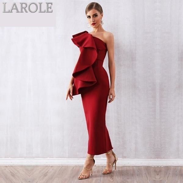 Sleeveless Ruffles  Red One Shoulder Bodycon Dress - More Colors Option Available!