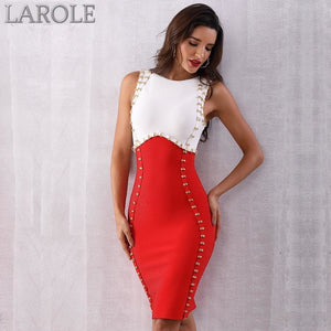 Red & White Sexy Sleeveless Midi Tank Bodycon Dress