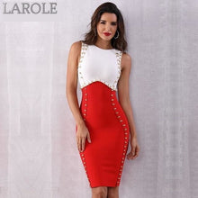 Load image into Gallery viewer, Red & White Sexy Sleeveless Midi Tank Bodycon Dress