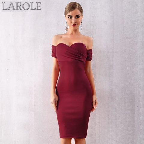 Wine Red Slash Neck Celebrity Party Dress Featuring Elegant Off The Shoulder Detail