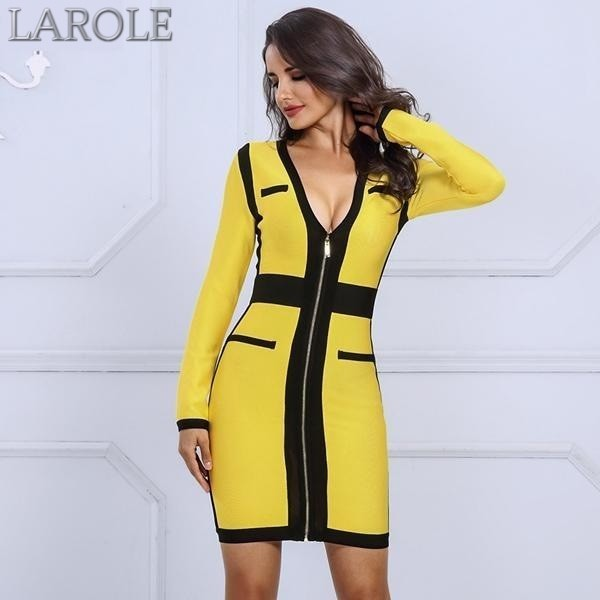 Yellow & Black V Neck Long Sleeve Celebrity Evening Party Dress