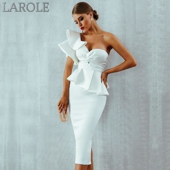 Elegant Khaki  Bodycon Sets One Shoulder Ruffles Short Sleeve Strapless Club Dress- More Colors Available