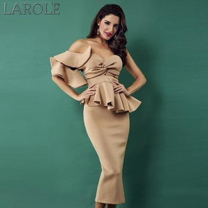 Elegant White  Bodycon Sets One Shoulder Ruffles Short Sleeve Strapless Dress- More Colors Available