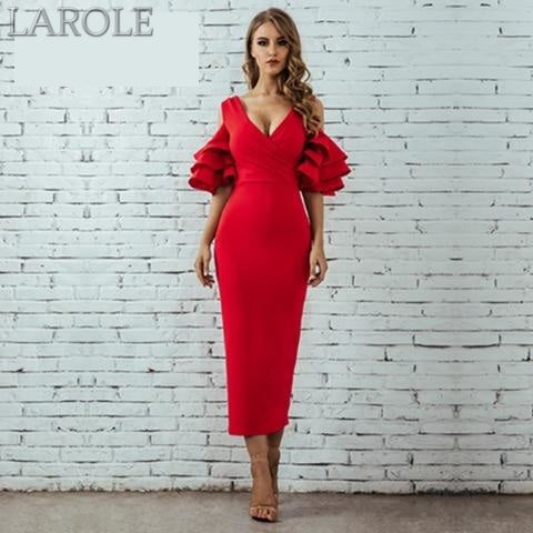 Red Ruffle Butterfly Short Sleeve Midi Dress - More color option available