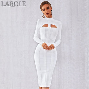 White Long Sleeve Hollow Out Club Dress Vestidos Celebrity Evening Party Dress