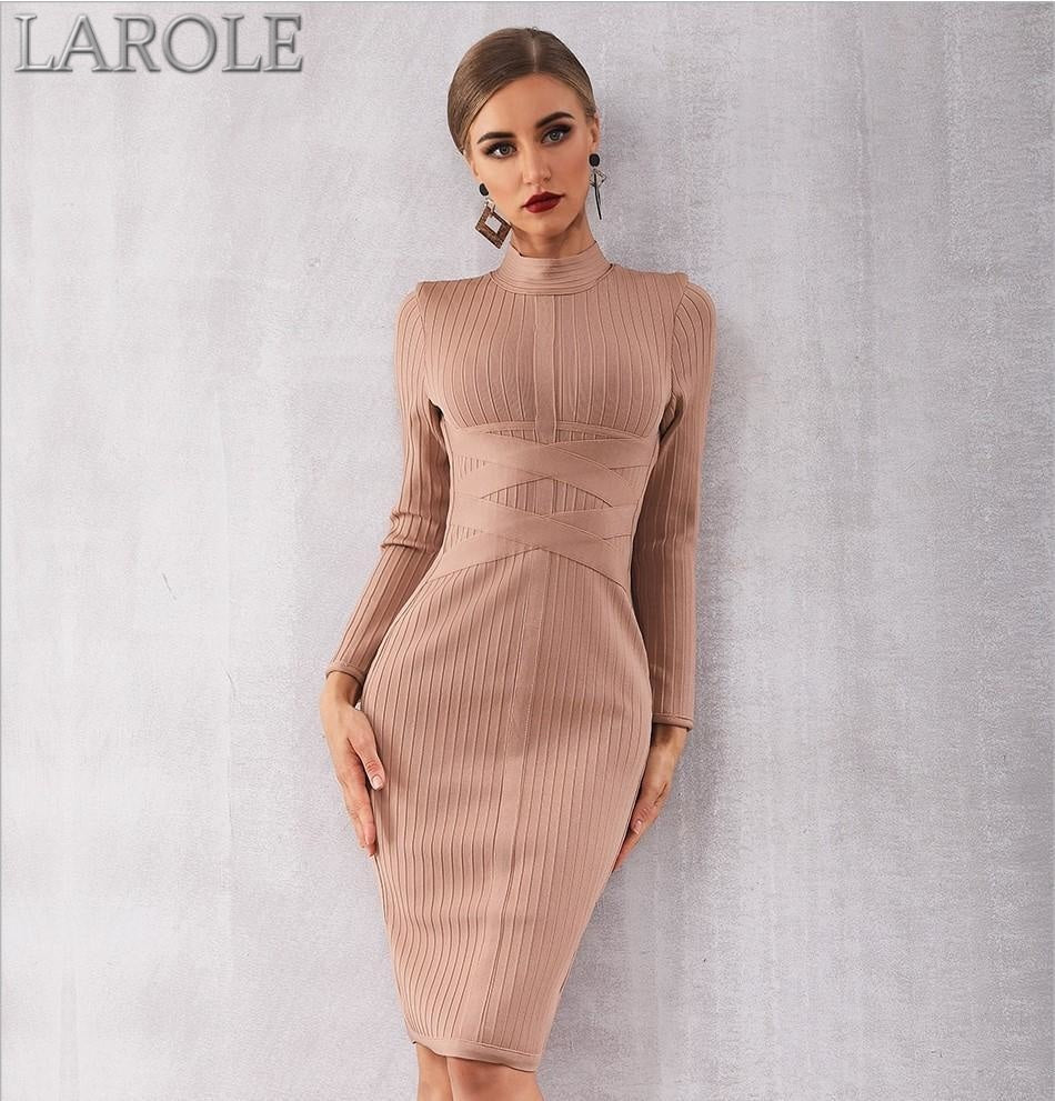 Sexy Nude Long Sleeve Midi Evening Party Dresses- More Colors are Available