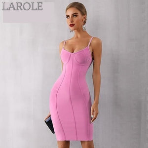 Sexy Pink Spaghetti Strap Vestido Strapless Midi Celebrity Evening Party Dress- More Colors Available