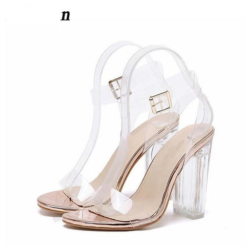 Clear Transparent Ankle Strap High Heels  Sandals