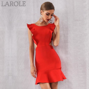 Sexy Red Ruffles Mini Club Party Dress - More Colors Are Available