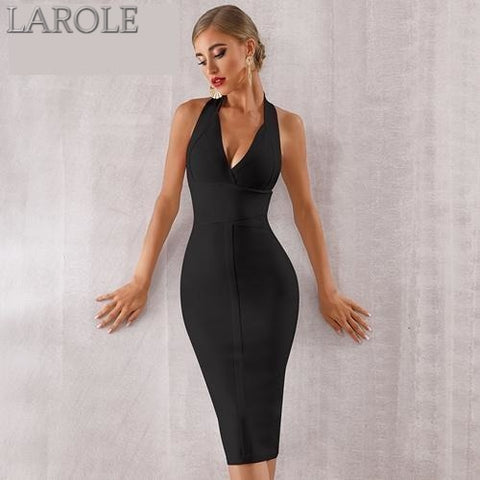 Halter V Neck Backless Black Bodycon Evening Party  Bandage Dress- More Colors Available