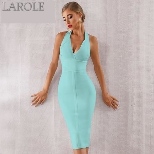 Blue Sexy Halter V Neck Backless bodycon Evening Party Dress - More Colors are available