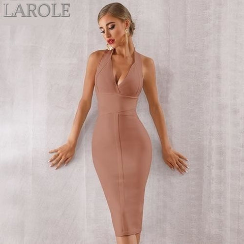 Khaki Sexy Halter V Neck Backless bodycon Evening Party Dress - More Colors are available