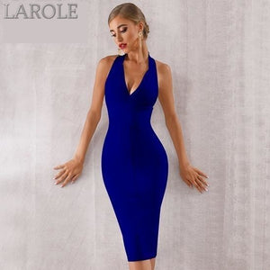 Pink Sexy Halter V Neck Backless bodycon Evening Party Dress - More Colors Available