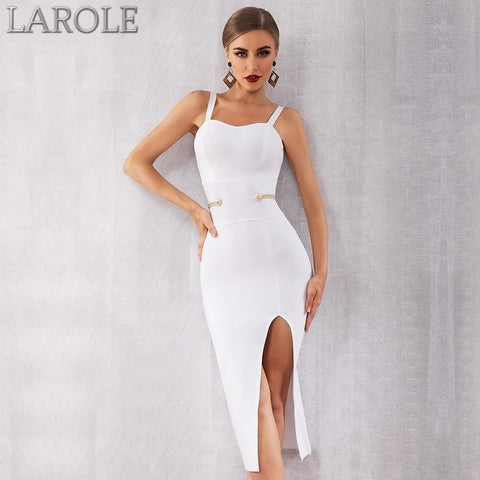 White Sexy Spaghetti Strap Deep V Summer Bandage Dress - More Color Option Available!
