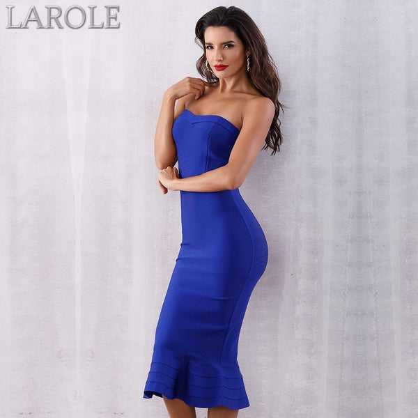 Sleeveless Strapless Midi Party Runway Blue Dress - More Colors Option Available!