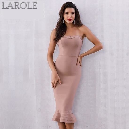 Sleeveless Strapless Midi Party Runway Apricot Dress - More Colors Option Available!
