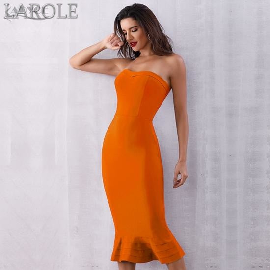 Sleeveless Strapless Midi Party Runway Orange Dress - More Colors Option Available!