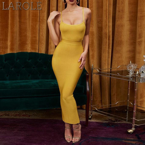 Yellow Spaghetti Strap Sleeveless Maxi Club Celebrity Evening Party Dresses- More Colors Are Available