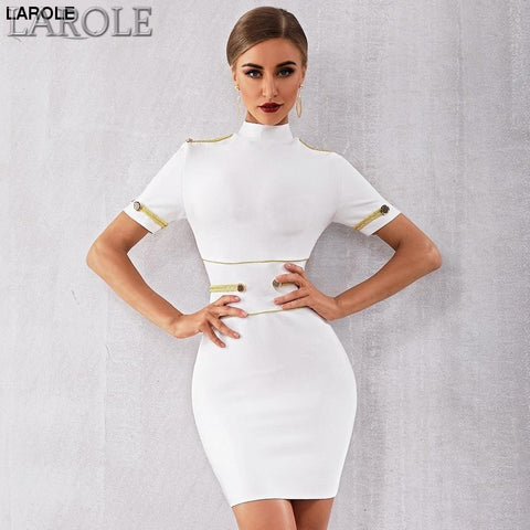 Elegant Celebrity Evening Sexy Short Sleeve White Mini Club Dress - More Colors Available