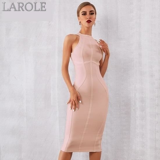 Elegant Tank Sexy Sleeveless Bodycon Apricot Midi Dress - More Colors Option Available!