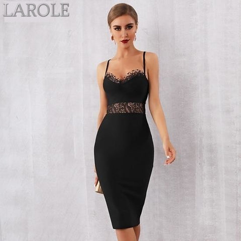 Lace Hollow Out Spaghetti Strap Cocktail Party Little Black Dress - More Colors Are Available