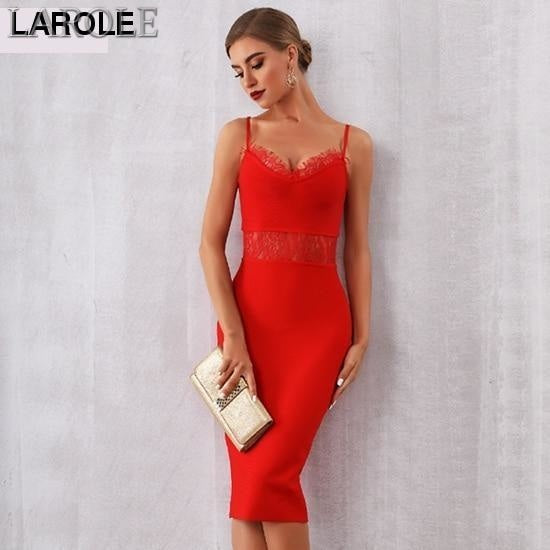 Lace Hollow Out Spaghetti Strap Cocktail Party Little Red Dress - More Colors Are Available