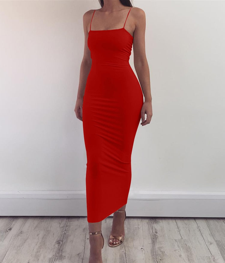 Spaghetti Strap Summer  Stretchy Maxi  Dress - More Colors Are Available