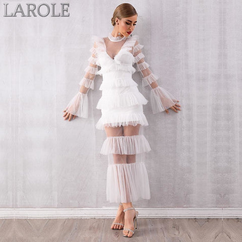 White  Sexy Long Sleeve Evening Party Dress