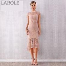 Load image into Gallery viewer, Short sleeves Lace Midi Mermaid Bodycon Dresses