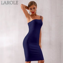 Load image into Gallery viewer, Sexy Black One Shoulder Spaghetti Strap Midi Dresses- More Color Option Available!