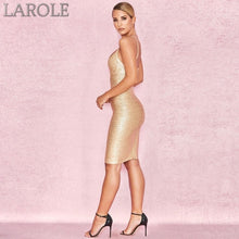 Load image into Gallery viewer, Elegant Spaghetti Strapped Gold Evening Party Dress