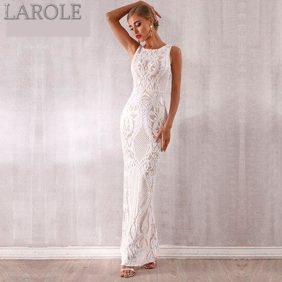 Luxury Sequined White & Beige Maxi Evening Runway Party Dress