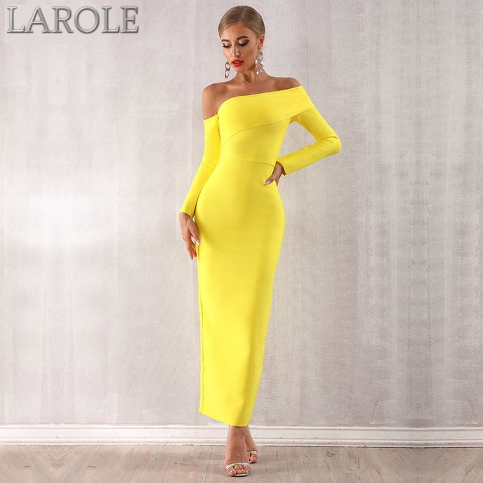 Long Sleeve Yellow Draped Off Shoulder Long Maxi Bandage Dress