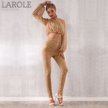 Load image into Gallery viewer, Tops&Pant 2 Two Pieces Set  Featuring Long Sleeve Draped