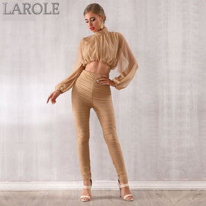 Tops&Pant 2 Two Pieces Set  Featuring Long Sleeve Draped