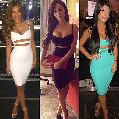 Sleeveless Cutout Midi Pencil Bodycon Party Dresses