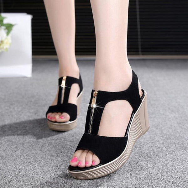 Gladiator platform wedge sandals with zipper - More colors available