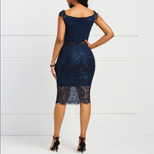 Load image into Gallery viewer, Lace Slash Neck Hollow  Elegant  Retro Blue  Midi Dresses - More Colors Are Available