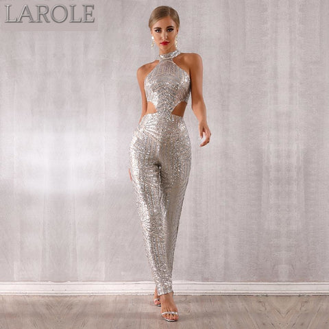 Hollow Out Halter Silver Sleeveless  Party Jumpsuits