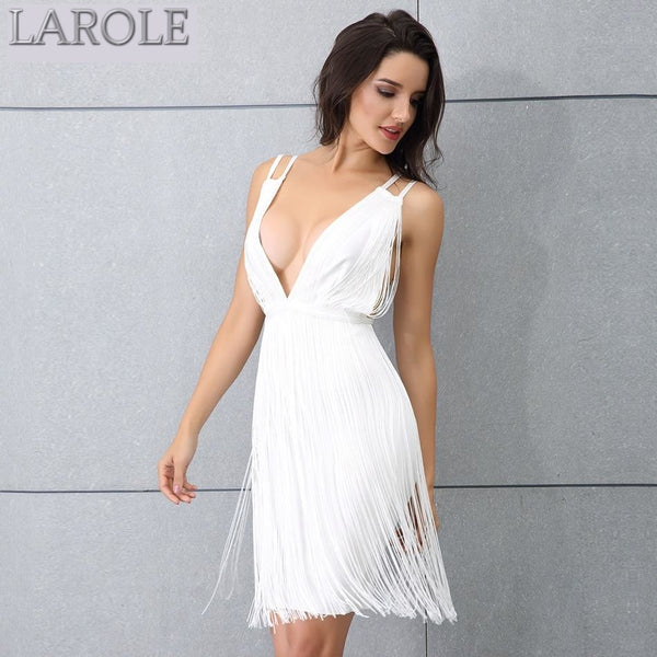 Plunge Neck Sleeveless Spaghetti Strap Tassel Fringe White Evening Party Dress