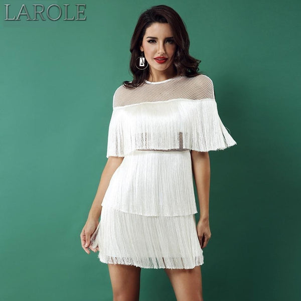 White Short Sleeve Mesh Sexy Hollow Out Fringe Tassel Dress  - More Colors Available