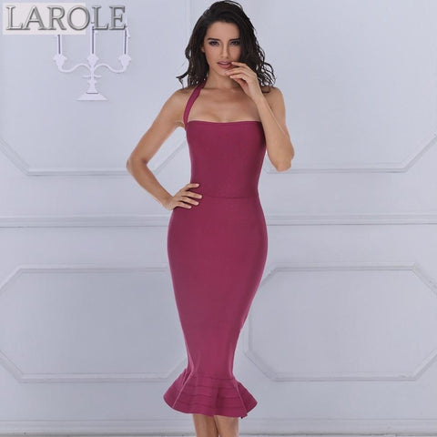 Sexy Wine Red Backless Bodycon Midi Dress