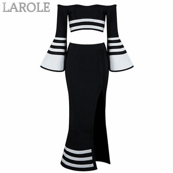 Runway Two Piece Set  Midi Evening Party Bandage Dresses in White and Black