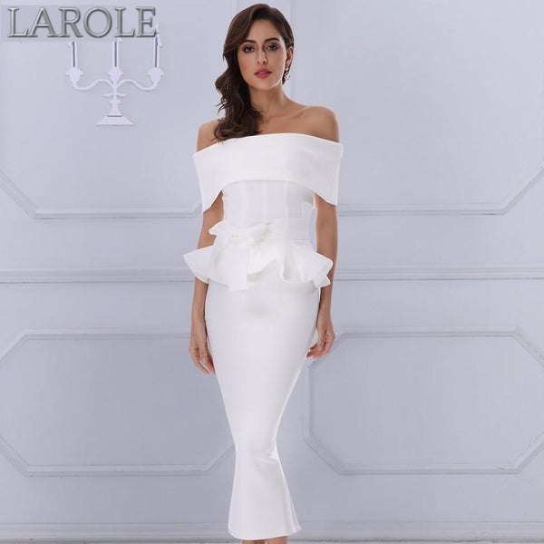 Bow & Ruffles Ankle Length Celebrity Evening White Party Dress -