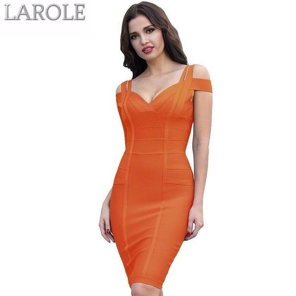 Off the Shoulder Knee-Length  Bandage Dress- Available in multiple colors