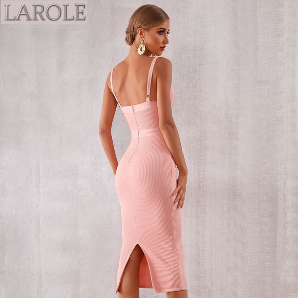 Pink Spaghetti Strap Sleeveless Midi Party Dress